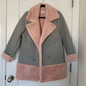 Jackets & Blazers - Pink & Grey Pea Coat